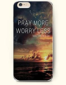 iPhone 6 Case,OOFIT iPhone 6 (4.7) Hard Case **NEW** Case with the Design of pray more worry less matthew 6:34 - Case for Apple iPhone iPhone 6 (4.7) (2014) Verizon, AT&T Sprint, T-mobile