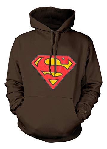 - Superman Hoodie DC Comics Classic Movie Logo Superhero Pullover Sweatshirt Brown