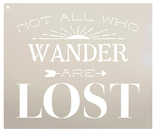 Not All Who Wander are Lost - Sunshine Stencil by StudioR12 | Reusable Mylar Template | Use to Paint Wood Signs - Pallets - Pillows - DIY Inspirational - Select Size (13