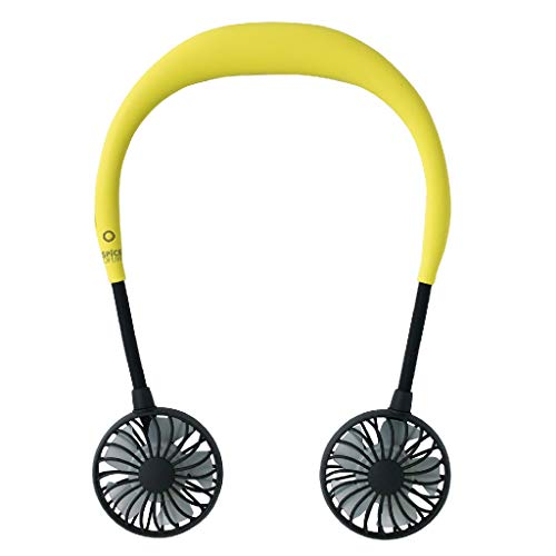 SPICE OF LIFE Hands-Free Portable W Fan - 5 Blade Dual Fans, 2000mAh USB Rechargeable Battery, 3 Speed Settings, Plastic Material - Yellow ()