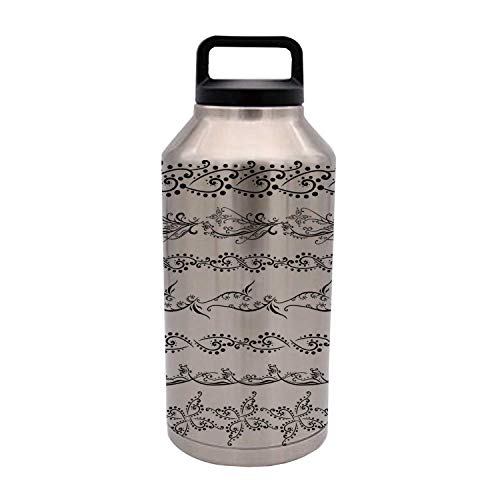 Henna Durable 64OZ Stainless Steel Bottle,Fantasy Spring Blossoms Abstract Display Traditional Borders Collection Monochrome Decorative for Home Travel Office,4