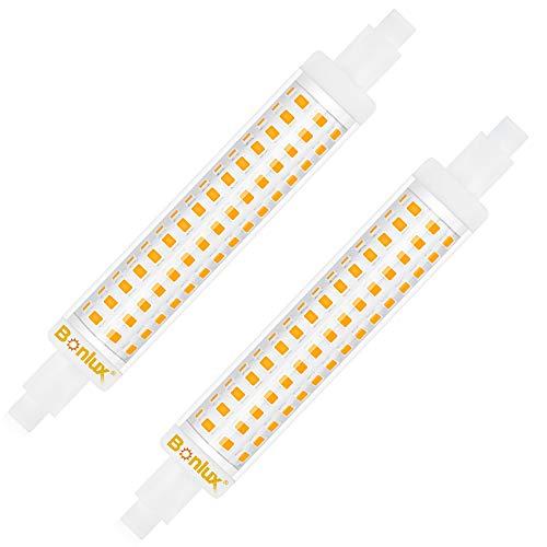 Bonlux 15W Lampadina R7S 118mm a LED Lineare Bianco Calda 3000k, Non-Dimmerabile J118 Slim Doppio Effeto Equivalenti 125W 120W Lampada Alogena Lineare AC 220-240V 1300LM 360 Gradi (pacco da 2)