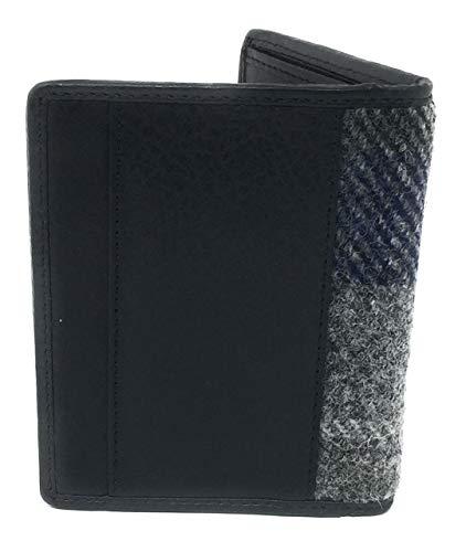De espiga De Harris Cuadros Doble Tweed Delgada Caja La Titular Pliegue Azules Verde Billetera En Tarjeta B77EU0x