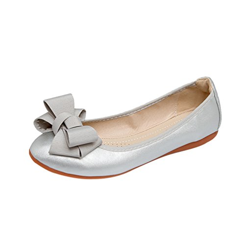 Jitong Womens Plain Sweet Slip On Flats Soft Round-Toe Bowknot Espadrille Comfortable Driving Loafers Moccasins Silver CuiFP5Zad
