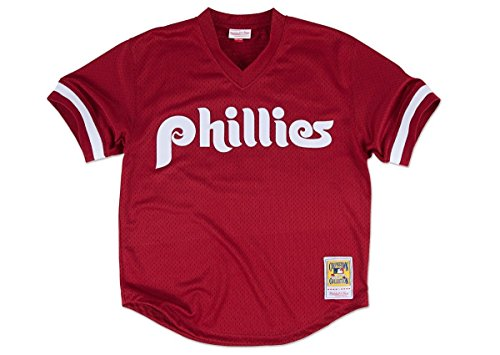 MLB Mitchell & Ness Philadelphia Phillies Lenny Dykstra 1991 Cooperstown Collection Authentic Practice Jersey - Maroon (Phillies Cooperstown Collection)