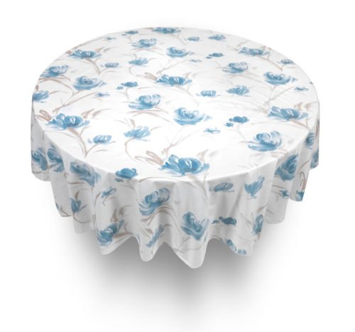 Like Paper Banquet Table Covers (The Pecan Man Tablecloth Flower Blue Flannel back Vinyl Tablecloths 70