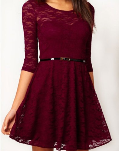 Ostart Sexy Lady Lace 3/4 Sleeve One-piece Dress (6, Wine Red)