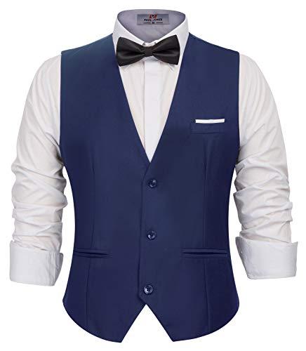 Men's Classic Formal Dress Vest Sleeveless 3-Buttons Suit Vest Navy, Small