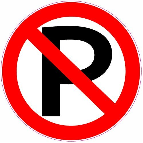 U.S. Custom Stickers No Parking Circle Sticker, (Parking Decal)