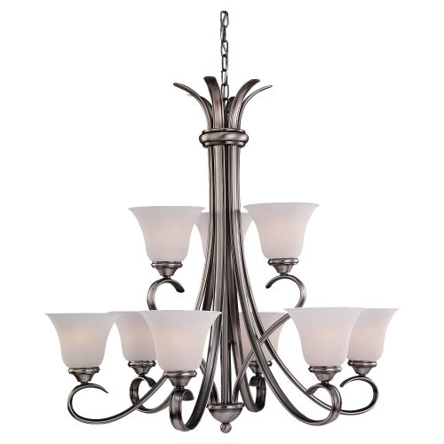 9 Light Chandelier Alabaster Glass (Sea Gull Lighting 31362-965 Nine-Light Rialto Chandelier with Etched White Alabaster Glass Shades, Antique Brushed Nickel Finish)