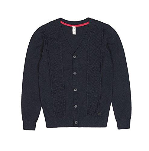 Boys Knit Cardigan (Benito & Benita Boy's Woolen Cable Knit Cardigan Uniform Sweater Navy)