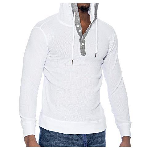 - 9 Crowns Men's Lightweight Hooded Henley Long Sleeve Shirt-White-Medium