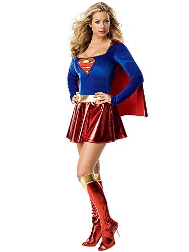 Secret Wishes Adult Supergirl Costume, Red/Blue, Medium -