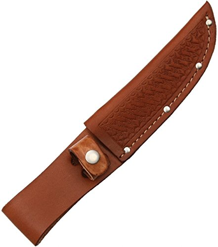 Sheath Fixed Knife Sheath, Brown basketweave leather,Fits up to 5in blade