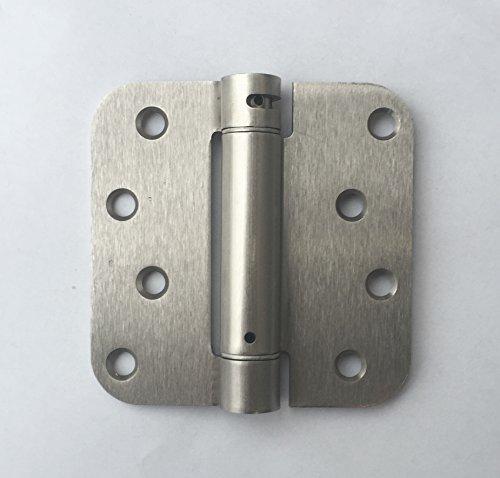 (Pack of 2) Satin Nickel 4 X 4 with 5/8 Radius Spring Door Hinges (Pool Nickel Satin)