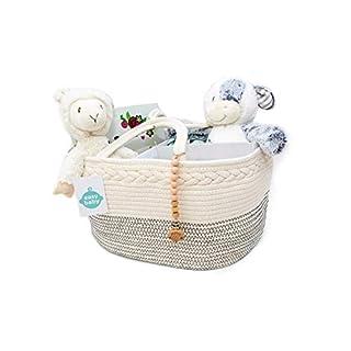 EZ Extra Large Baby Diaper Caddy Organizer Bag - Diaper holder, Eco-friendly Felt, Portable, Infant, Newborn, Baby- (Black Stripes)