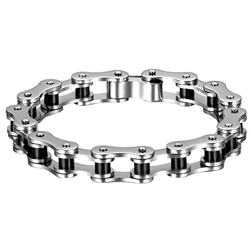 Oidea Stainless Steel Mens Gothic Bicycle Chain Link Bracelet for Biker,8.7 Inch,Gold,Silver