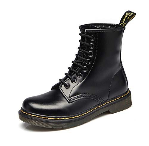 2019 Women Boots Dr Martin Boots Split Leather Shoes High Top Motorcycle Autumn Winter Shoe Woman Snow Boots ST50,Black Patent,43 ()