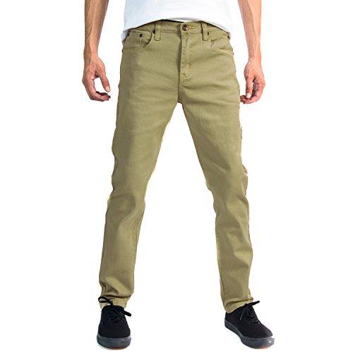 Nice Alta Premium Designer Fashion Mens Slim Fit Skinny Denim Jeans - Dark Khaki - 30