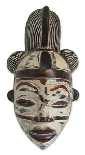 NOVICA Decorative Gabonese Large Sese Wood Mask, White, Punu Spirit'