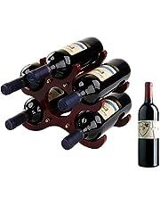 Small Wine Rack, 6 Wine Bottles Holder, Countertop Wine Rack, Wooden Wine Rack, Wine Stand, Wine Holder (Red)