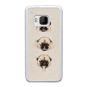 DIY PUGS Theme Phone Case Fit To HTC One M9 , A Good Gift To Your Family And Friends