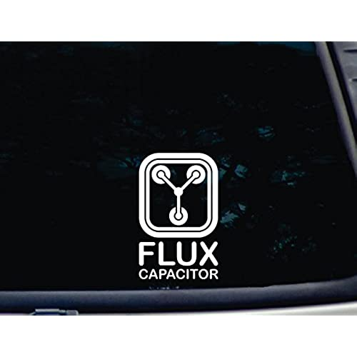 Flux capacitor 3 3 4 x 6 die cut vinyl decal for windows cars trucks tool boxes virtually any hard smooth surface