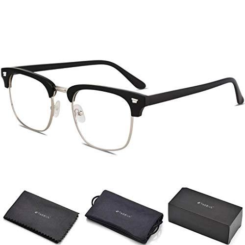 Teddith Blue Light Blocking Glasses Anti Blue Light Computer Reading Glasses Reduce Eye Strain Headache Better Sleep for Men/Women Half Frame Clear ()