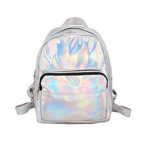 - Wonen Sliver Hologram PU Leather Backpack Casual Daypack School Bookbag Fashion Travel Satchel Bag (Silver)