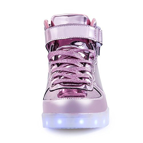 TUTUYU Kids & Adult 11 Farben LED leuchten Schuhe High Top blinkende Turnschuhe für Weihnachten Rosa Grau