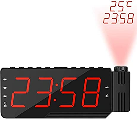 Reloj Despertador de proyección, Radio LED Grande de FM Digital ...