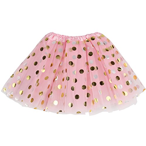 Jastore Baby Girls' Polka Dot Tutu Glitter Ballet Triple Layer Soft Tulle Dance Skirt (3-10 Years, Pink)