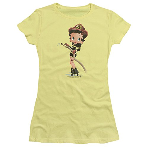 Firefighter Fitted T-shirt - Trevco Betty Boop Firefighter Juniors' Sheer Fitted T Shirt, Medium