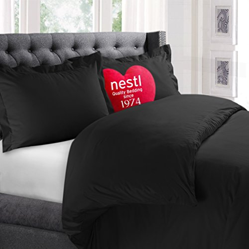 Nestl Bedding Duvet Cover 3 Piece Set - Ultra Soft Double Brushed Microfiber Hotel Collection - Comforter Cover with Button Closure and 2 Pillow Shams, Black - King 90