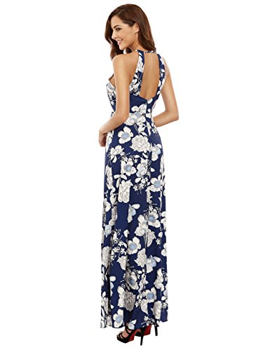 836507fcc3 Floerns Women's Sleeveless Halter Neck Vintage Floral Print Maxi Dress