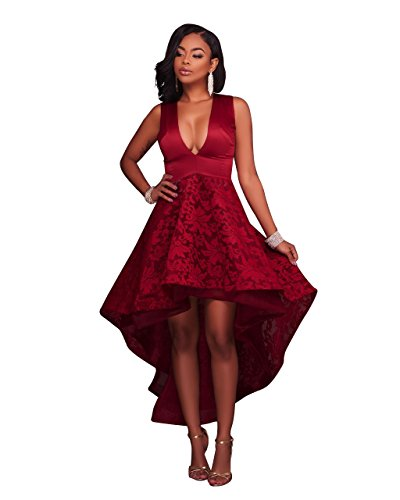Womens Sexy Elegant Deep V Sleeveless Grocet Lace High Low Party Club Dress (M, wine red)