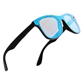 NWOUIIAY Plastic Shades for Men and Women Oversized Frame Mirrored Polarized Sunglasses UV400 Protection Eyeglasses (Blue Mirrored)