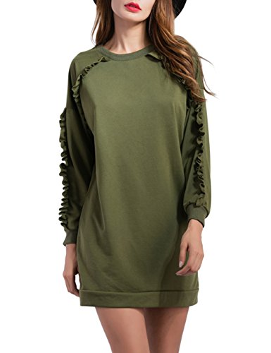Imixcity_Women's Europe and America Round Neck Raglan Sleeve Straight Mid-long Style Hoodie Army Green S