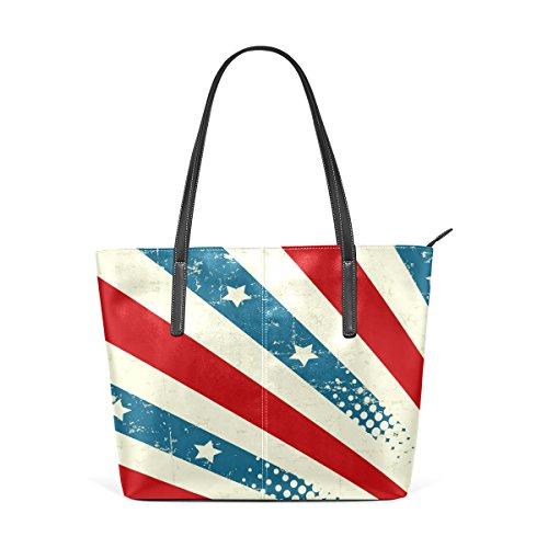 COOSUN Fondo patriótico del hombro bolso de cuero del monedero y bolsos de la bolsa de asas para las mujeres Medio muticolour
