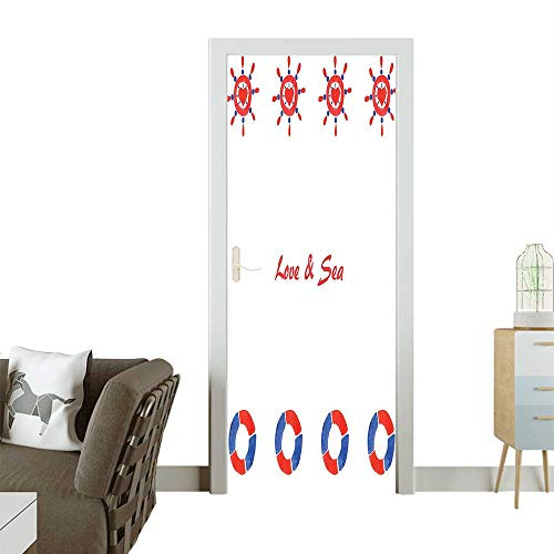 Door Sticker Wall Decals Wheel Love Sea sage Adventurous Themed Ative Navy Red Easy to Peel and StickW38.5 x H79 INCH (Sage Pizza Peel)