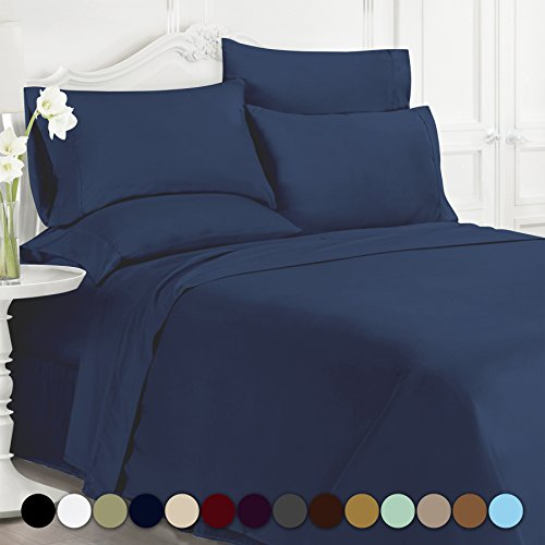 Swift Home® Premiere 1800 Collection Brushed Microfiber - 6 Piece Sheet Set(Includes 2 Bonus Pillowcases), Queen, Navy - Deep 2 Piece Set