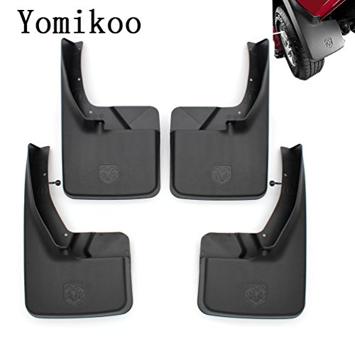 Yomikoo Mud flaps,Deluxe Molded Splash Guards Front and Rear Mud Fenders Ram mud flaps OEM For 2010-2016 Dodge Ram 1500 2500 3500 Full Set 4pcs With -