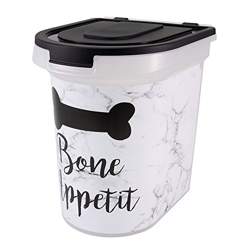 Paw Prints 37815 Plastic Rolling Pet Food Bin, 26 lb, Bone Appetit Design