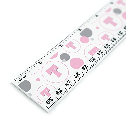 Letter T Initial Baby Girl Block Font Pink Shower 12 Inch Standard and Metric Plastic Ruler