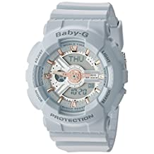 Casio Women's Baby-G BA110GA-8A Grey Silicone Quartz Watch