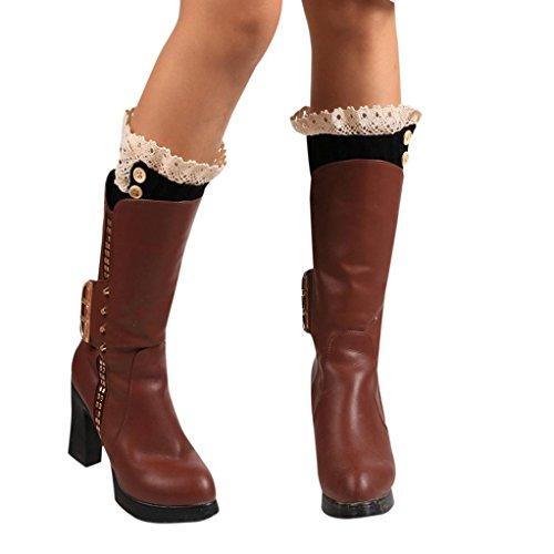 Leg Warmers,Haoricu Women Winter Warm Knitted Socks Leg Warmers Boot Crochet Short Socks (Black) (Accessory Black Boot Cuff)