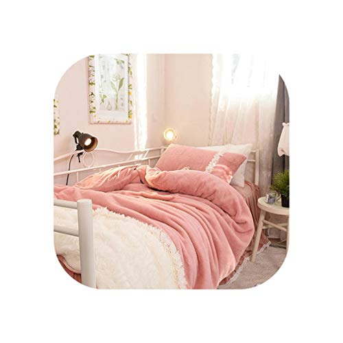 Sheep Shop-Bedspread Pink White Girls Princess Fleece Bedding Set Twin Queen King Size Bed Set Duvet Cover Bed Skirt Bed Cover Posciel Linge De Lit,Bedding Set 1,Twin Size 3Pcs