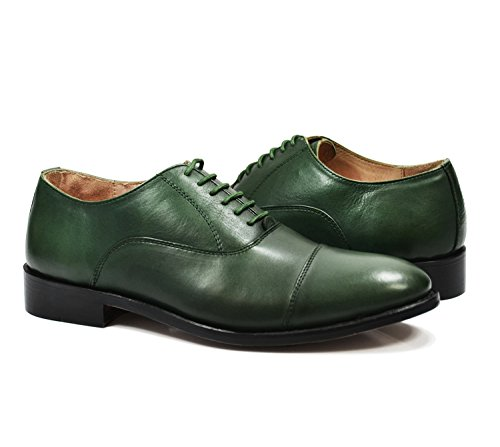 Cap Toe Nappa Oxford - Paul Malone Cap-Toe in Smoke Pine Green, Full Leather