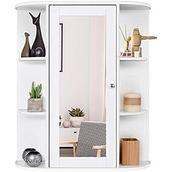 Bathroom Cabinet Single Door Shelves Wall Mount Cabinet W// Mirror Organizer