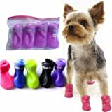 UR Dog Shoes Waterproof Skidproof Pet Dog Rain Protective Rubber Shoes Booties Pink S
